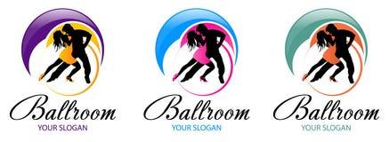 Schattenbild von Tanzenpaaren Tanzlogo-Entwurfsschablone Elemente von multi farbigen Ikonen des Tanzes Einfache Ikone f?r Website lizenzfreie abbildung