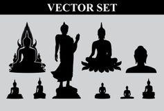 Schattenbild von thailändischem Buddha Stockfotos