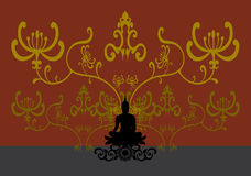 Schattenbild von thailändischem Buddha Lizenzfreies Stockbild