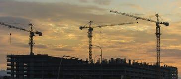 Schattenbild von Turmkranen während des Sonnenuntergangs Lizenzfreie Stockfotos