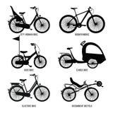 Schattenbild von verschiedenen Fahrrädern für Kinder, Mann und Frau Vektormonochromillustrationen Stockfotos
