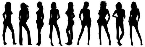 Schattenbild von vier Mädchen mit Stockfotos