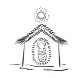 Schattenbild-Weihnachtsportal mit Baby Jesus Lizenzfreie Stockfotografie