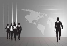 Schattenbild-Wirtschaftler-Gruppen-Geschäftsmann-und Frauen-Skizzen-Zusammenfassungs-Weltkarte-Hintergrund vektor abbildung