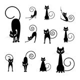 Schattenbildansammlungen der schwarzen Katze Lizenzfreie Stockfotografie