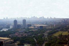 Schattenbildansicht von Manila-Skylinen lizenzfreies stockbild