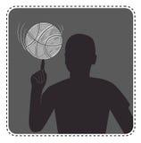 Schattenbildavatarajunge mit einem Basketball vektor abbildung