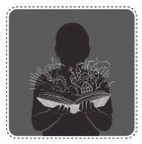 Schattenbildavatarajungen-Magiebuch lizenzfreie abbildung
