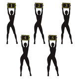 SchattenbildBoxringmädchen, die Zeichen halten Verschiedene Körperbauten Stockbild