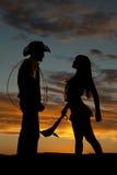 Schattenbildcowboy Indian-Seilclub Lizenzfreie Stockbilder
