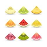 Schattenbilder auf Rot Scheiben von: Zitrone, Kiwi, Orange, Granatapfel, Ananas, Pampelmuse, Kalk, Wassermelone, Melone, Granatap Lizenzfreie Stockfotografie