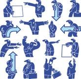 Schattenbilder der Büroangestellter. Nadelanzeigen lizenzfreie abbildung