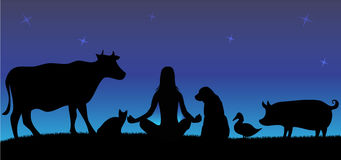 Schattenbilder der Frau mit vielen Tieren in der Nacht lizenzfreie stockfotos