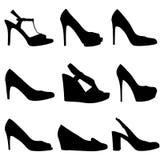 Schattenbilder der Frau shoes-1 Stockfotos