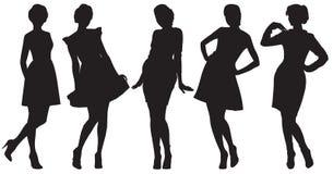 Schattenbilder der hübschen Frauen Stockfotografie