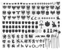 Schattenbilder der heraldischen Auslegungelemente Lizenzfreies Stockfoto