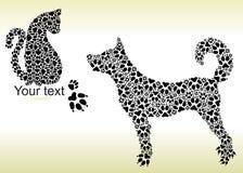 Schattenbilder der Katze und des Hundes von den Bahnen Stockfotografie