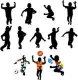 Schattenbilder der Kinder in der Bewegung Lizenzfreies Stockbild