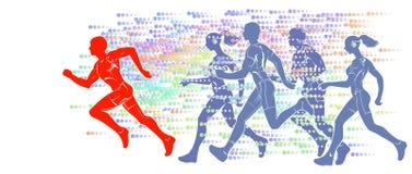 Schattenbilder der laufenden Athleten Stockbild