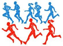 Schattenbilder der laufenden Athleten Stockfotografie