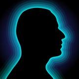 Schattenbilder der Männer mit blauem Halo Lizenzfreie Stockfotografie