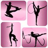 Schattenbilder der rhythmischen Gymnastik Stockfoto
