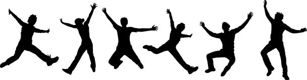 Schattenbilder der springenden Leute Stockbild