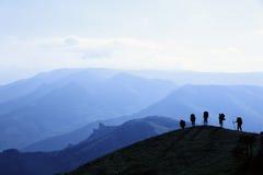 Schattenbilder der Touristen Lizenzfreie Stockfotos