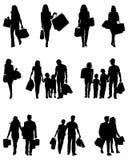 Schattenbilder des Einkaufens Lizenzfreie Stockfotos