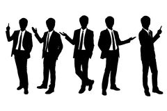 Schattenbilder des Geschäftsmanndarstellens Stockfoto