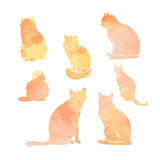 Schattenbilder des Katzen Aquarellsatzes stock abbildung