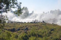 Schattenbilder des Militärs im Wald Lizenzfreies Stockbild