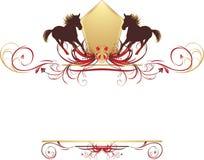 Schattenbilder des Pferds auf der stilvollen Auslegung Stockbilder