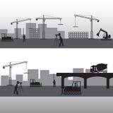 Schattenbilder des Traktors und des Arbeitens Lizenzfreies Stockbild
