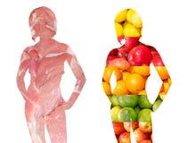 Schattenbilder, die Gemüse und aus Fleisch bestehen Stockfoto