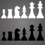 Schattenbilder Satz Standardschachfiguren Lizenzfreies Stockfoto