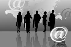 Schattenbilder und eMail-Ikone Lizenzfreies Stockbild