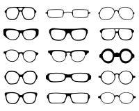 Schattenbilder von Brillen Stockfotos