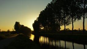Schattenbilder von den Bäumen und von buntem Abendhimmel, die im Wasser sich reflektieren Lizenzfreie Stockfotografie