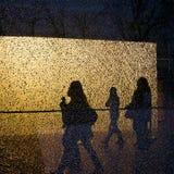 Schattenbilder von den gehenden Leuten und von Bäumen gesehen durch die zerbrochene Fensterscheibe Lizenzfreie Stockbilder