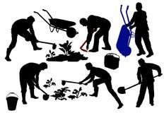 Schattenbilder von den Landwirten, die mit Werkzeugen arbeiten Stockbilder