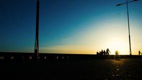 Schattenbilder von den Radfahrern, die in den Park bei Sonnenuntergang reiten stock video