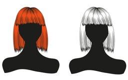 Schattenbilder von Frauen mit schöner Frisur können als Visitenkarten und Werbung und Einladung und Gutschein benutzt werden Lizenzfreie Stockbilder
