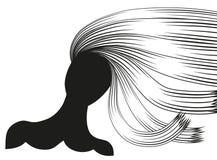 Schattenbilder von Frauen mit schöner Frisur können als Visitenkarten und Werbung und Einladung und Gutschein benutzt werden Lizenzfreie Stockfotografie