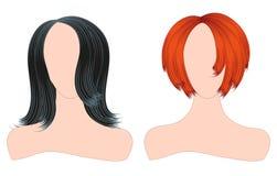 Schattenbilder von Frauen mit schöner Frisur können als Visitenkarten und Werbung und Einladung und Gutschein benutzt werden Lizenzfreies Stockfoto
