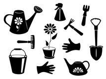 Schattenbilder von Gartenwerkzeugen. Stockfoto