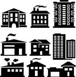 Schattenbilder von Gebäuden Lizenzfreie Stockbilder