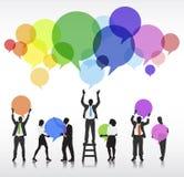 Schattenbilder von Geschäftsleuten Betrachtungs-Innovations-Konzept- Stockfotos