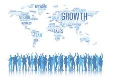 Schattenbilder von Geschäftsleuten bewaffnet angehobenes und globales Geschäft C Lizenzfreie Stockbilder