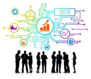 Schattenbilder von Geschäftsleuten Daten-Konzept- lizenzfreie abbildung
